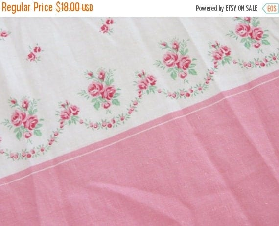 ON SALE Shabby Pink Roses Border Print Fabric