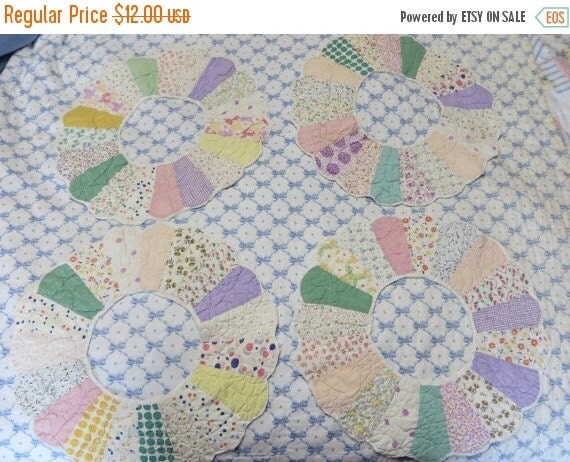 ON SALE Antique Dresden Quilt Blocks-Feedsack Fabrics-Hand Sewn-Set of 4