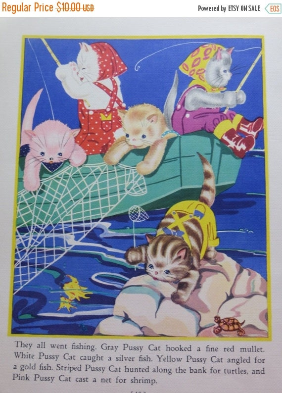 ON SALE Vintage Ruth Newton Childrens Nursery Rhyme Book Print-Fishing Kittens-Book Plate