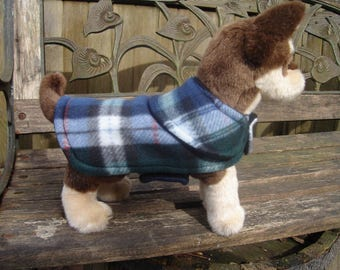 Navy Green and White Plaid Fleece Dog Coat-Size Teacup 5-7 Inch Back Length