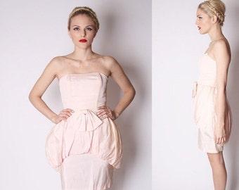 Final SALE 55% Off - Blush Pastel Pink Strapless 80s Cocktail Party Prom Dress / Short Pink Prom Dress / Bubble Dress / Pastel Vintage Prom