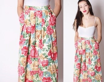 40% Limited time SALE  - Floral Corduroy Vintage Midi Spring Floral Skirt with Pockets / Corduroy Skirt / Midi Skirt with Pockets / Spring F