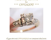RESERVED for CFF1242017, Payment 8 -- Art Deco Diamond Engagement Ring 14 K Two-Tone Gold Antique Recycled Wedding Ring Size 6 TCW .20 Carat