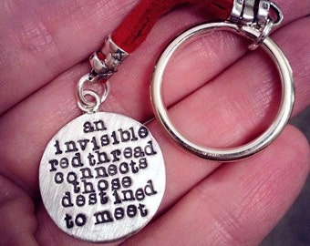 10 dollars off: An Invisible Red Thread...an Adoption Keychain - Solid Sterling & Leather