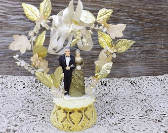Vintage 50th Wedding Anniversary Cake Topper