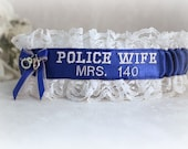 Custom Police Wedding Garter - Police Wedding Garter - Blue Line Wedding Garter - Something Blue Garter - Embroidered Garter.