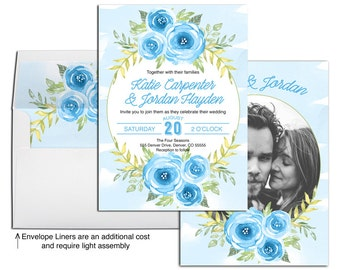 Blue wedding invitations printable or printed, summer watercolor floral wedding invitations suite, wedding invitations picture - WLP00561