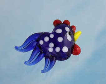 Large lampwork glass  rooster bead - cobalt blue with white spots- 1 piece - chicken - loose beads - polka dot