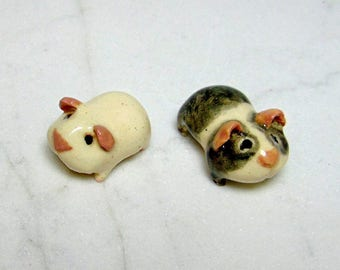 Terrarium Guinea Pig  - Tiny Handmade Guinea Pig - Terrarium Miniature - Ceramic Figurine - Clay Guinea Pig - set of 2 (studio choice)