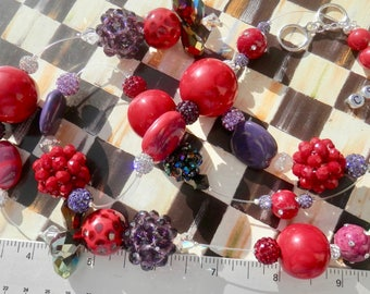 """Artisan Necklace  - Red Purple Collage of Mixed Media Beads- Kazuri - crystal - Swarovski - Long Necklace - 34"""" Long - Statement Piece"""