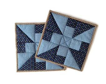 Quilted Potholders Handmade / Quilted Hot Pads / Quilted Trivets / Quilted Mug Rugs / Quilted Candle Mats – Set of 2