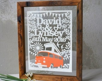 Personalised Boho Wedding Papercut/Yurt/Campervan/Tipi/Anniversary/Personalized Wall Art/Framed Papercut/Forest/Woodland/Personalised Gift
