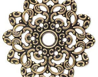 6pcs Antique Gold Steel Metal Filigree Flowers 47x47mm Jewelry Components