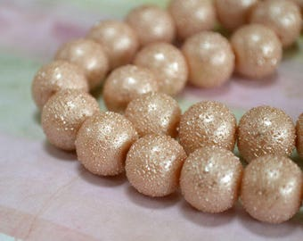 33pcs 12mm Champagne Glass Pearl Bead Textured Round 16 in Strand
