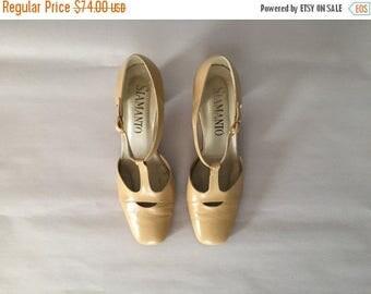 40% OFF SALE... cafe au lait cut out heels | T-strap heels | 6.5
