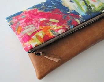 Foldover Clutch, Vegan Leather Clutch Bag, Spring Bright  Floral Clutch Purse, Ipad Kindle Case, Bridesmaid Gift, Gift for Her
