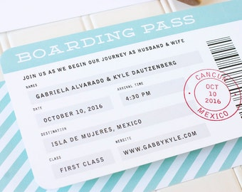 Boarding Pass Wedding Invitation, Destination Wedding Invitations, Airplane Ticket Invite, Letterpress, Foil Stamp, Flat Printing - DEPOSIT