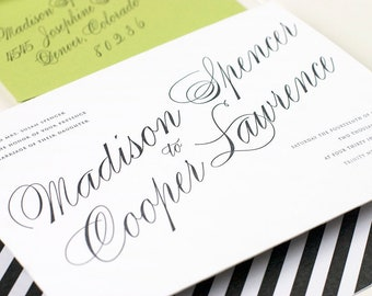 Letterpress Wedding Invitation, Black and White Letterpress Wedding Invitation, Classic Letterpress Invite - Letterpress - Astaire - SAMPLE