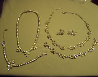 Vintage Silver Tone Rhinestone 2 Necklace Bracelet Sets 1 With Earrings Garne Schurin 8938