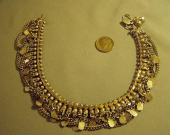 Vintage Ethnic Tribal India Silver Tone Belly Dancing Ankle Upper Arm Bracelet 8967