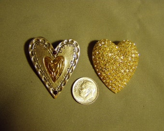 Vintage Lia Signed 2 Heart Pins Lianna Inc Pave Rhinestones & 2 Tone Metal 9116