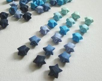 100 Sea Foam Blue Gradient Origami Lucky Stars