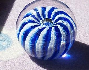 Blue and White Handmade Glass Urchin Paperweight