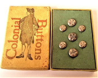 Boxed Set Colonial Buttons... 200th Anniversary American Independence... Arizona Chemical Company