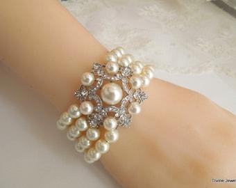 bridal pearl and crystal Bracelet Statement Bridal Bracelet Bridal Cuff Wedding Rhinestone Bracelet ivory swarovski pearl bracelet DANIELLE