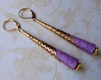 Purple and Gold Paper Earrings (3159)