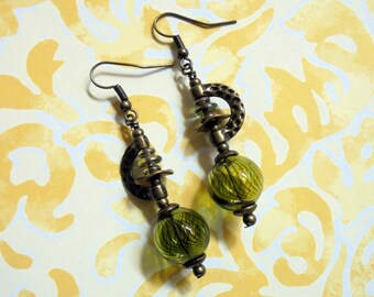 Olive Green and Brass Striped Boho Earrings (3357)