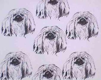 Pekingese Dog Fabric Hot Diggity Dog Novelty fabric 1 yd