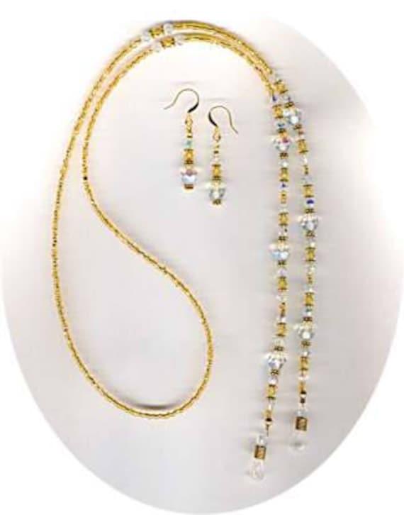 Fabulous Fashion Swarovski Crystal Beaded Eyeglass Chain or ID Badge Lanyard SET