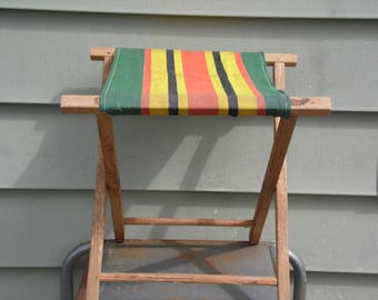 Wooden stool vintage folding camping stool fire side camping stool with canvas seat in orange yellow green black let's go camping