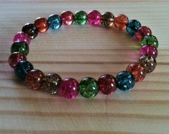 """Handmade Watermelon Tourmaline Quartz Stretch Bracelet, Multicolor Quartz Bracelet, Cleansing, Balance  7"""" Bracelet, Rainbow Colorful Beads"""
