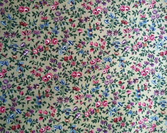 1.5 Yard of Floral Cotton Fabric, Quilting Fabric, Fabric Destash Sale, Any Occasion Fabric, Antique Roses,Flowers Cotton Fabric,Tote Fabric