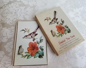 Vintage Birds Songbird Post Cards 23 Watercolor Art Prints Box By Roger Tory Peterson & Barton-Cotton, Naturalist Ornithology Paper Ephemera
