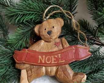 """Vintage Carved Wood Teddy Bear Christmas Ornament With """"Noel"""" Banner, Handcrafted Handmade Decoration, Rustic Primitive"""