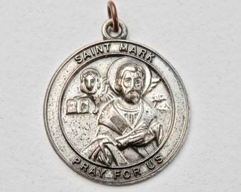 St. Mark Medal Sterling Silver Patron Saint Catholic Medal Religious Pendant Vintage Jewelry Lion Religious Jewelry Gospel Christianity
