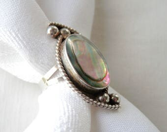 Vintage Mexican Silver Abalone Ring Sterling Silver Mexican Jewelry Eagle Assay Taxco Mexico 1960s Size 5.5 Ring Abalone Shell 925