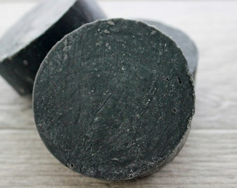 Activated Charcoal Face Soap - Black Soap - Handmade Charcoal Facial Soap - Homemade Face Soap - Round Soap - Natural Cold Process Soap -