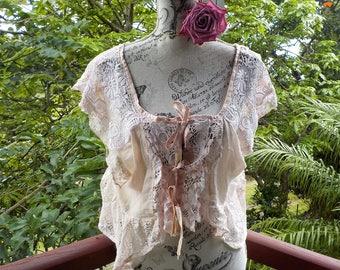 alternative camisole top - bohemian lace bolero - romantic hippy blouse - XL, XXL. XXXL