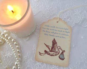 Stork Candle Favor Tags Baby Shower Boy Set of 10