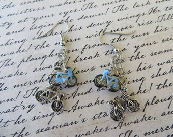 Dangling Bicycle Bead And Charm Earrings
