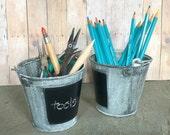 Galvanized Mini Pail Chalkboard Square Vintage Finish Bucket Organizer Set of 2 Planter