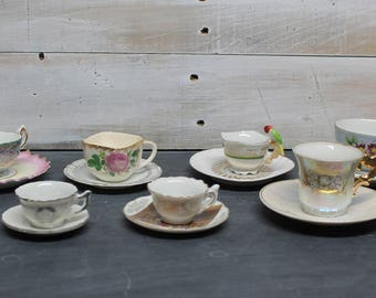 Set of Seven Mismatched Miniature Tea Cups and Saucers, Mini Tea Cups and Saucers, Collectible Tea Cups and Saucers