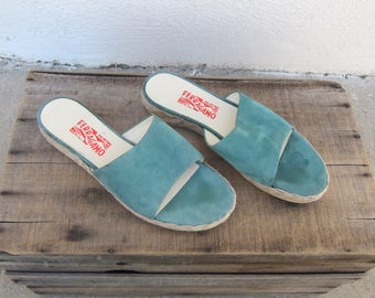 90s  Salvatore Ferragamo Espedrille Slides Sea foam Green Suede Sandals Mules Flats Ladies Size 9