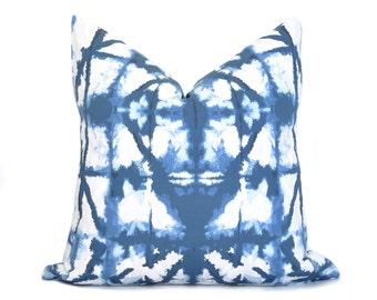 Shibori Pillow Cover - Indigo Blue - Navy Pillow - Indigo Pillow - Boho Pillow - Blue Pillow - Bohemian - Tye Dye - Decorative Pillow