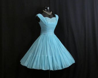 Vintage 1950's 50's 50s BLUE Turquoise Beaded Pearls Daisies Applique CHIFFON Organza Wedding Prom Party DRESS