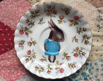 Blue Shy Bunny with Tiny Floral Edge Illustrated Vintage Plate